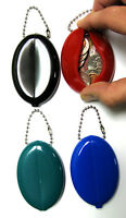 2 Soft Rubber Oval Squeeze Coin Purses Keychains Mens Money Change Holder Wallet