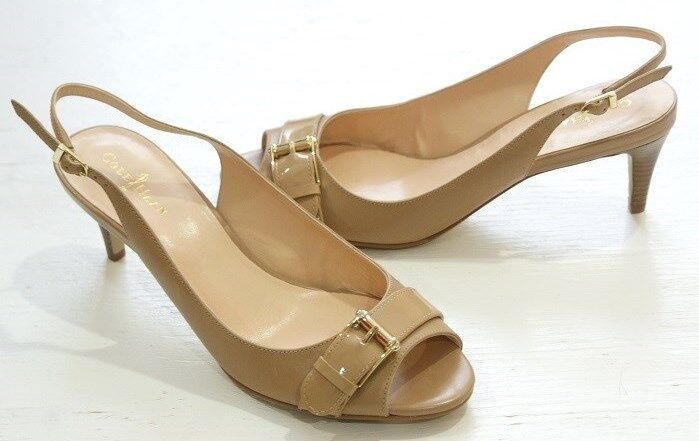 180 Cole Haan Leder Air Judy OT Slingback Leder Haan Schuhes Damenschuhe Beige 8.5 NEW IN BOX a6651f