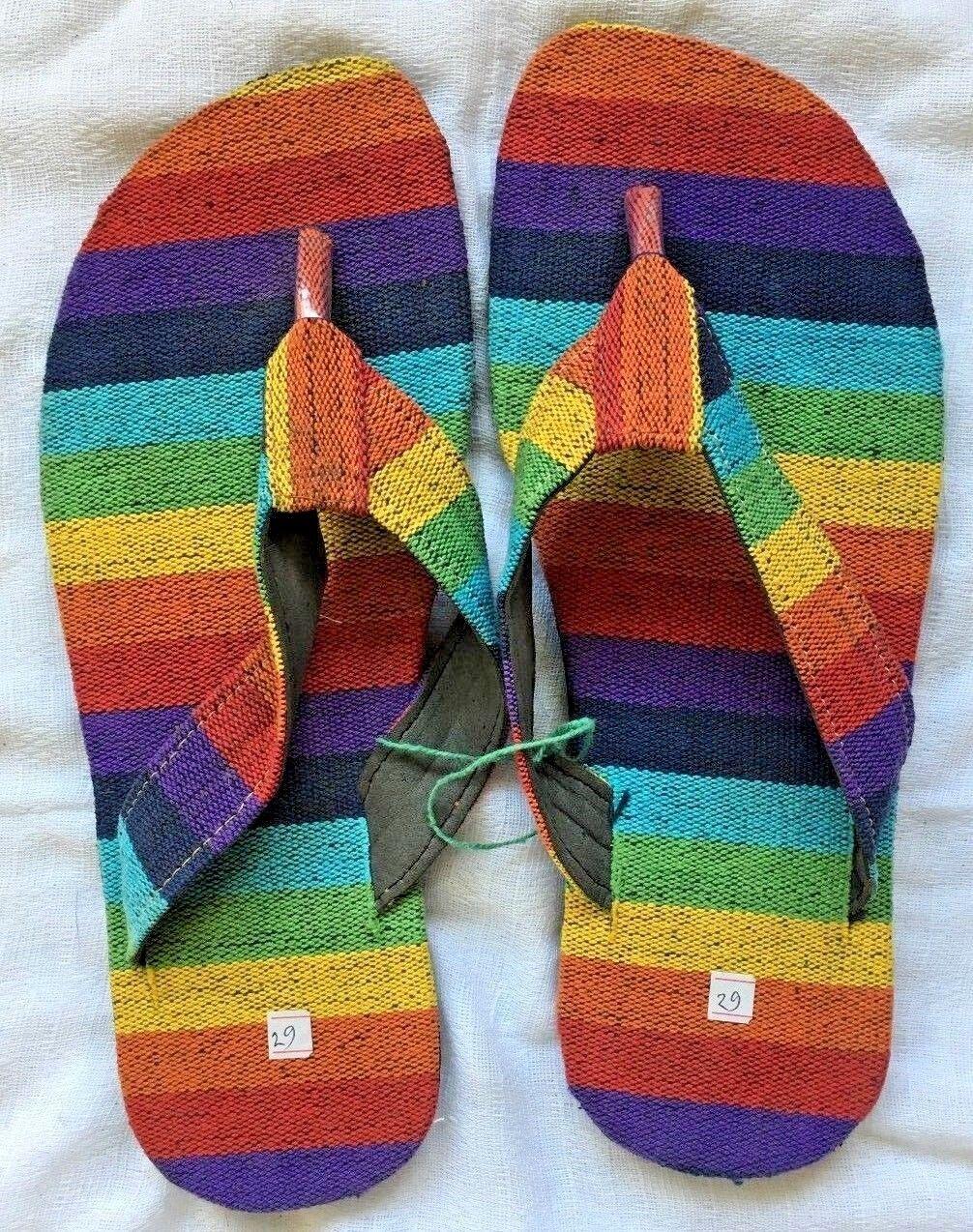 Rainbow  Canvas Cotton Summer Beach Slippers Flip Flops Sandals Handmade