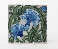 Antique William De Morgan Blue Carnation Flower Arts & Crafts Tile