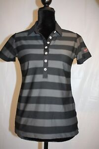 Nike-Golf-Women-039-s-Short-Sleeve-Black-Gray-striped-Top-MINT-condition-size-S