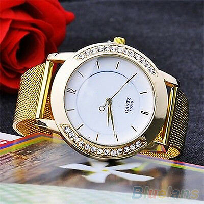 Unisex Elegant Rhinestone Golden Color Mesh Band Analog Quartz Wrist Watch