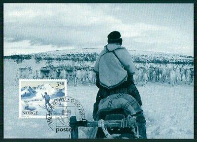 Norwegen Mk 1997 Fauna Ren Schneemobil Snowscooter Maximumkarte Mc Cm En96
