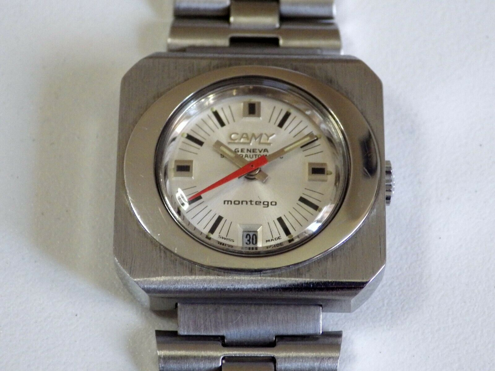 VINTAGE CAMY GENEVE MONTEGO SUPERAUTOMATIC WHITE, SWISS MADE, FOR LADY 1980