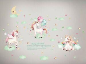 Details zu Wandtattoo Wandsticker Einhorn Unicorn Pferd bunt Mädchen Baby  Kinderzimmer Mond