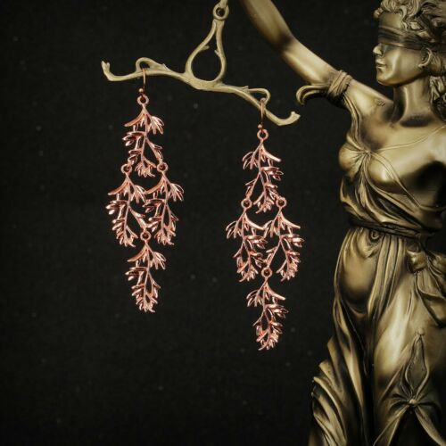 Boucles d/'Oreilles Filigrane Doré Rose Pendant Long Fin Elegant Feuille AA 13