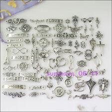 70Pcs Tibetan Silver Love Cross Flower Butterfly etc.Mixed Charms Connectors