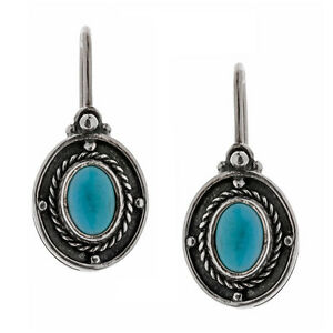 Savati-Sterling-Silver-with-Turquoise-Byzantine-Drop-Hook-Earrings