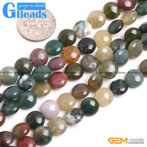 Natural Stone Indian Agate Coin Beads Free Shipping Strand