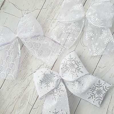 """3 Large Hessian Bows Handmade 6/"""" Wide Cakes Wreaths Christmas Decorations"""