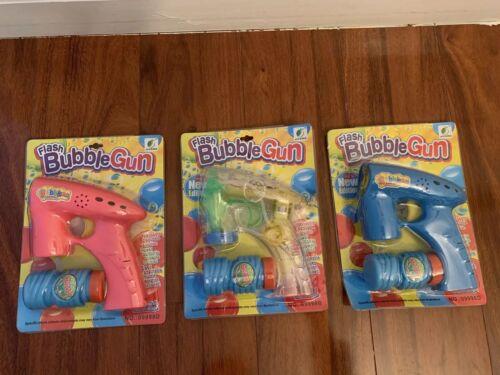 Pink Blue LED Color Lighting /& Sound Flashing Bubble Gun Toy Trasparent