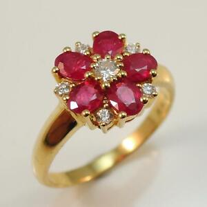New-18ct-Gold-Ruby-amp-Diamond-Cluster-Ring-Rubies-Weight-1-08-carat