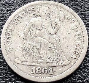 1864 S Seated Liberty Dime 10c San Francisco Rare Better Grade VF #15117