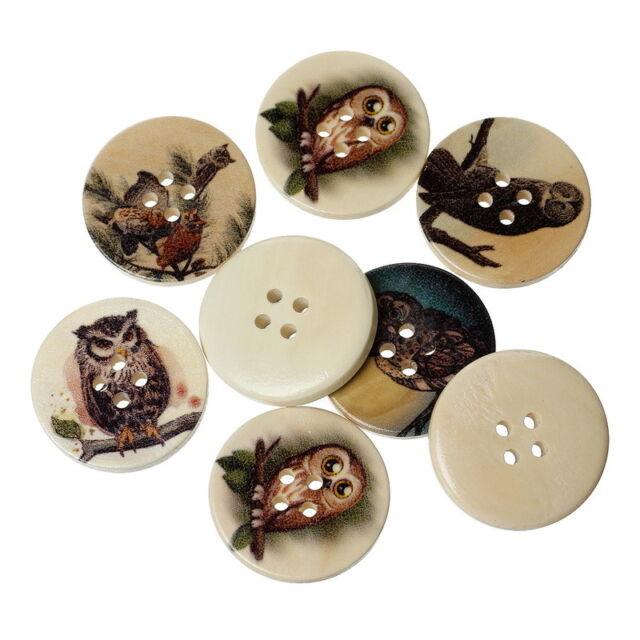 50Pcs Mixed Natural Color Wood Sewing Buttons 4 Holes Dark Color Owl 3cm Dia.