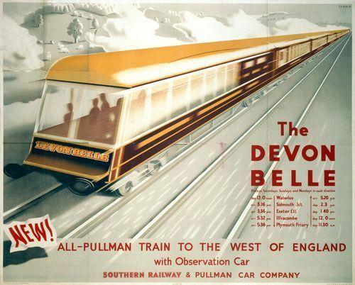Vintage Southern Railway Devon Belle Railway Poster Print A3//A4