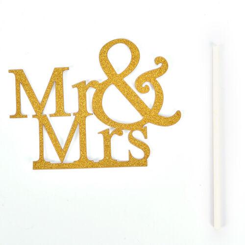 Mr/&Mrs Romantic Silver Shiny Cake Topper Wedding Party Top Letter Decor TK