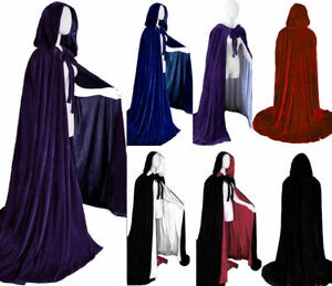 Velvet-Halloween-hooded-cloak-wedding-cape-wicca-robe-Fancy-Dress-Vampire-Gothic