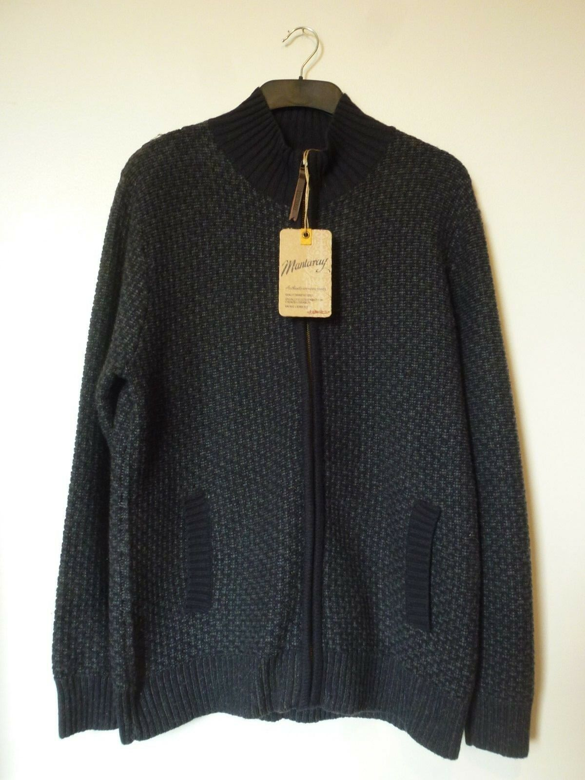 Mantaray  Herren Zip Up Chunky TextuROT Cardigan Größe Medium BNWT   Grau