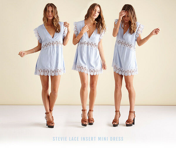 Suboo Stevie Cornflower Ice blueee Lace Cut Out Mini Sundress Beach Cover Up 8 10