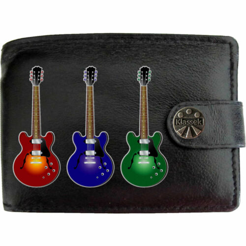 3 Chitarre Rock Electric musica Mens Leather Wallet Mans Musicale Regalo TIN BOX RFID
