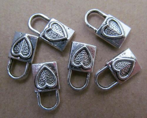 PJ071 15pcs Tibetan Silver Charm Double-sided Love lock Accessories Wholesale