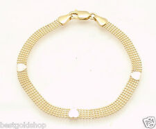 """7"""" 5 Row Ball Chain Link Bracelet with White Heart Stations REAL 14K Yellow Gold"""