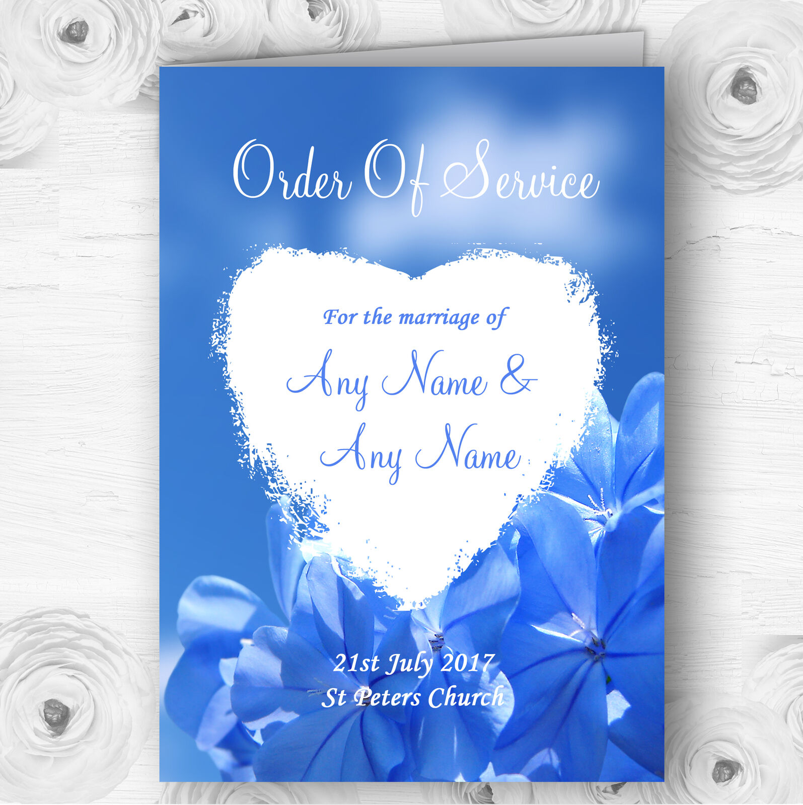 Pretty Sky Blau Flower Personalised Wedding Double Sided Cover Order Of Service
