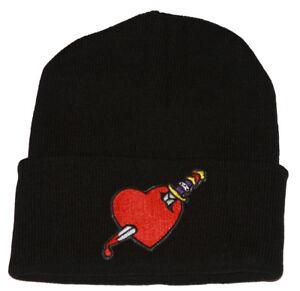Winter-Knit-Black-Beanie-Cuff-Heart-Dagger-3D-Patch-Embroidery