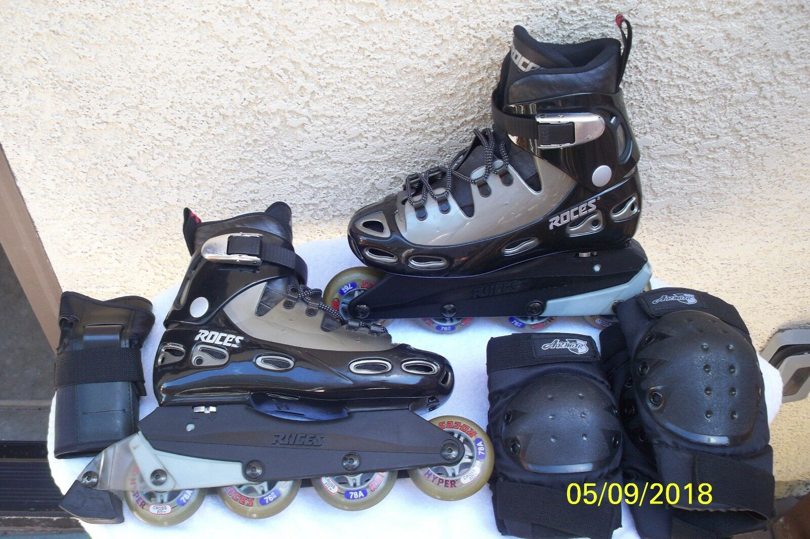 ROCES Rollerblades Skates Made in  + Knee Elbow Pads, Wrist guards Größe 7.5