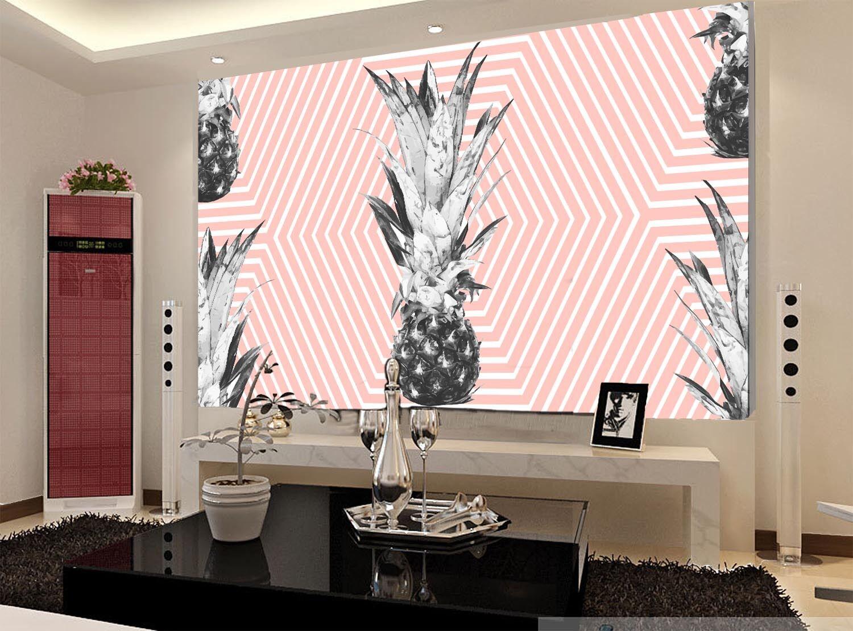 3D Motif d'ananas 6 Photo Papier Peint en Autocollant Murale Plafond Chambre Art