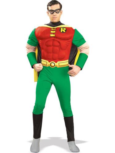 Adult Robin Muscle Chest Fancy Dress Costume Batman Superhero Teen Titans BN