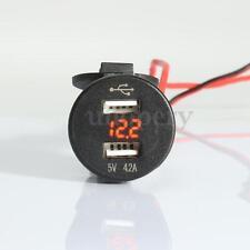 12V Car 4.2A Dual USB Charger Socket Adapter Voltage Voltmeter Motorcycle Orange