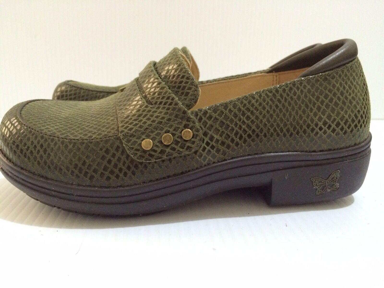 Alegria Taylor Olive Glossy Snake Leder Schuhes Größe 5 - 5.5 Euro 35