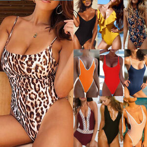 Women-Monokini-One-Piece-Swimsuit-Push-up-Padded-Bikini-Swimwear-Bathing-Suit-US
