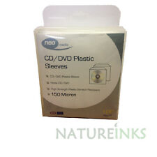 300 High Quality 150 Micron clear plastic CD DVD sleeves Side STITCH