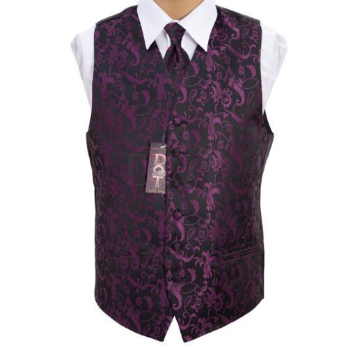 """Men/'s Black//Purple Passion Wedding Waistcoat Size 36/""""-50/"""" Choice Cravat Bow Tie"""