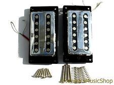 2 vintage chrome slotted guitar humbucker pickups plain chrome + fittings new