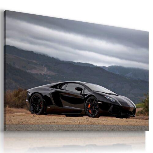 LAMBORGHINI AVENTADOR BLACK Sports Cars Wall Art Canvas Picture  AU794  MATAGA