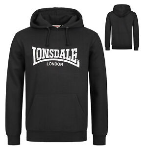 Lonsdale Classic Logo Hooded Sweatshirt Hoodie Black Regular-Fit Kapuze