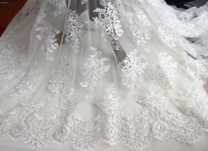 51 Beaded Embroidery Wedding Dress Fabric Corded Bridal Gown Lace Fabric 0 5 Ebay