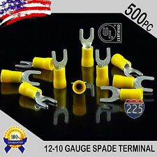 500 Pack 12 10 Gauge Vinyl Spade Fork Crimp Terminals 10 Stud Tin Copper Core