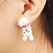 Handmade Polymer Clay White Rabbit Stud Earrings For Women Fashion Animal bri...