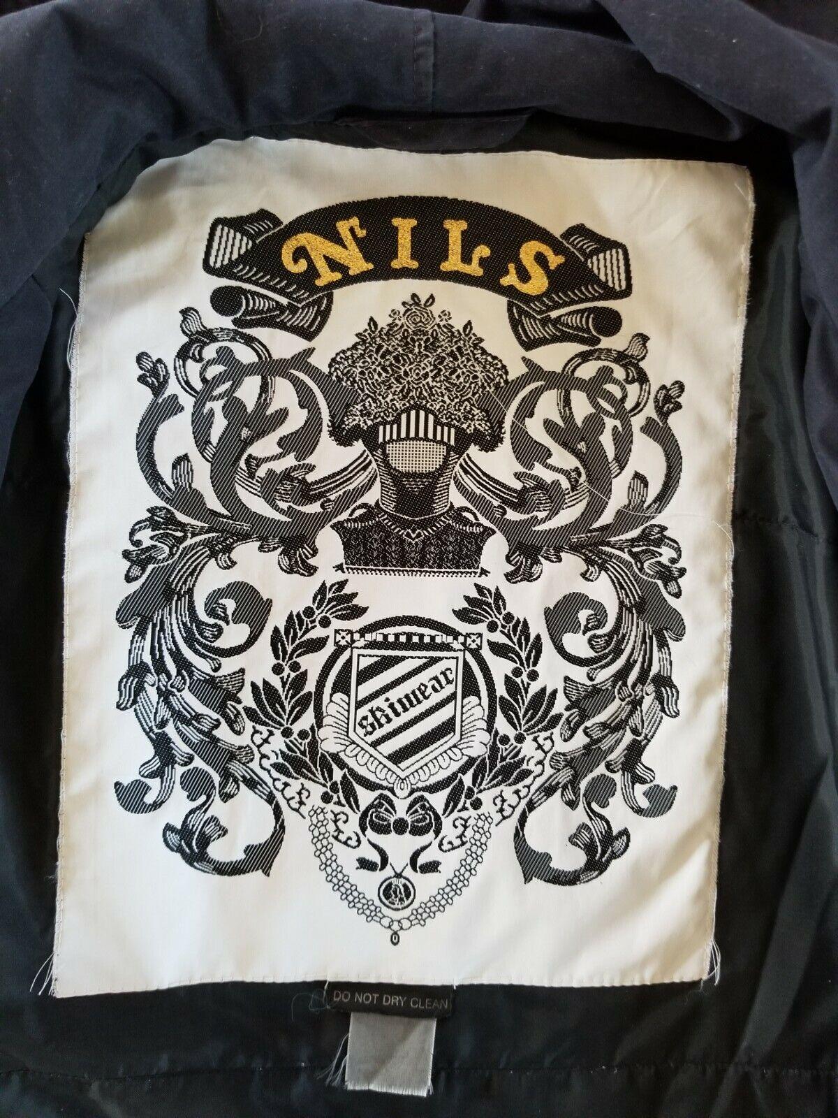 Vtg 80's NILS Black Ski Jacket Coat USA Made LARGE, Hood, Soft fabric, belt, Zip