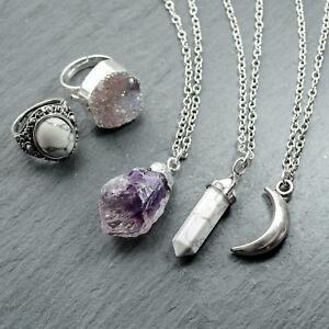 Amethyst-Healing-Crystal-Quartz-Cluster-Necklace-Silver-Boho-Bohemian-Stone-Gift