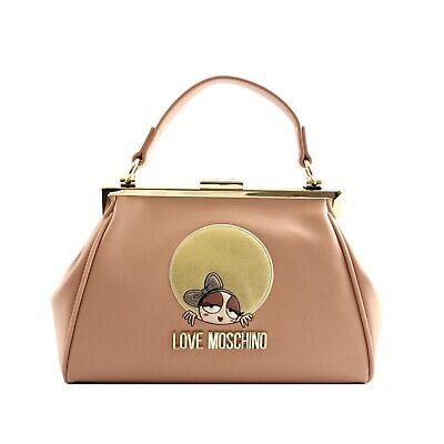 Borsa bauletto tracolla Love Moschino donna pelle rosa logo bambola inserti oro | eBay