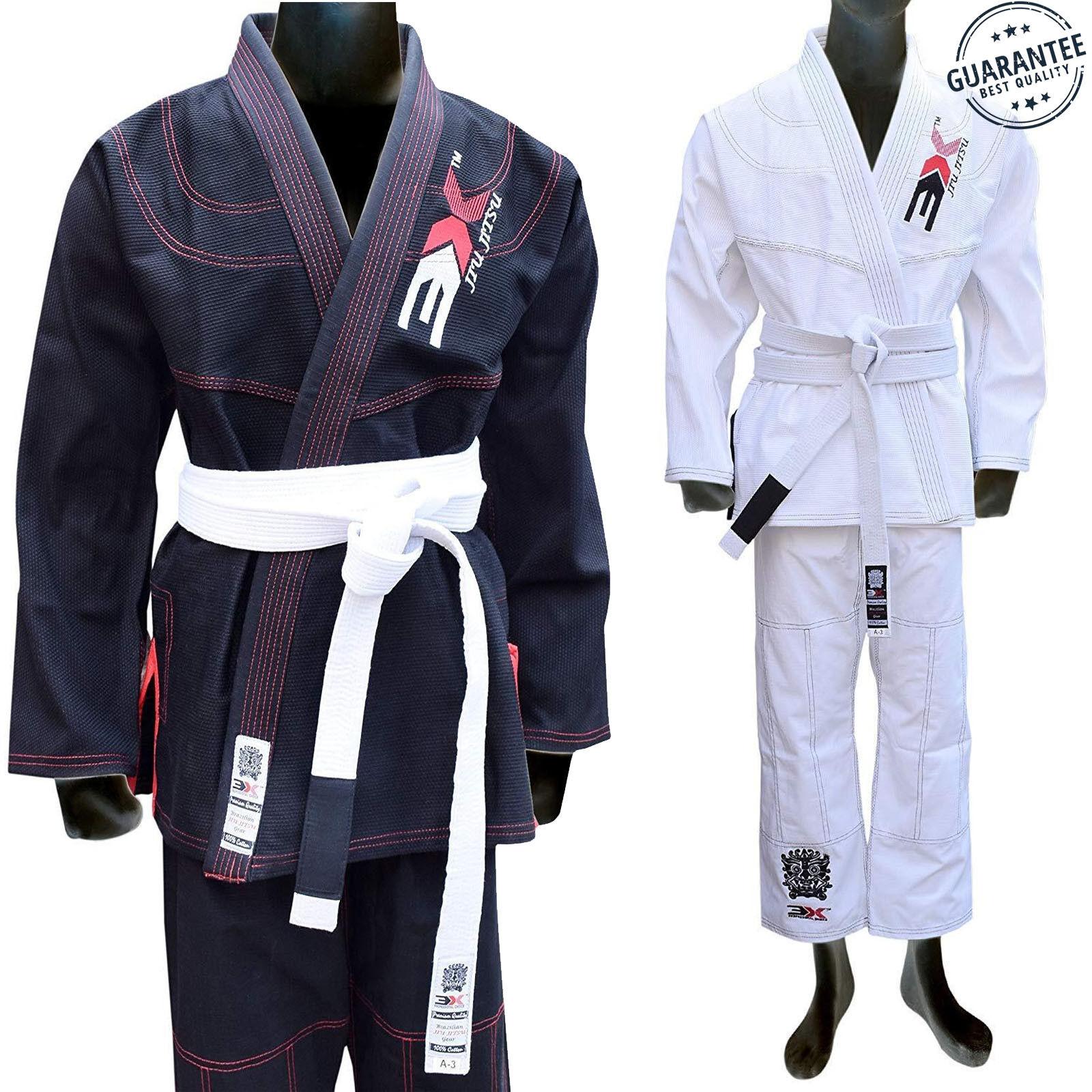 3xSports Jiu-Jitsu Classic Plain BJJ GI Pre-Shrunk Kimono karate Suit Uniform
