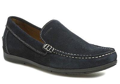 GEOX RESPIRA SIMON Bleu Chaussures Hommes Mocassins Cuir en