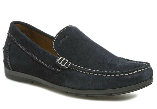 GEOX BREATHE SIMON BLUE men's shoes loafers leather suede casual shoes mens