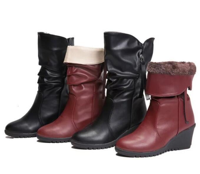 Womens Winter Fur Lined Platform Mid Calf Boots Warm Wedge Heel shoes Uk Sz