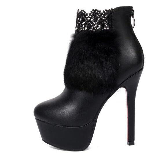 Stiefel stivaletti stiletto schwarz pelo spillo eleganti 14 cm simil simil simil pelle 1395 d0a397
